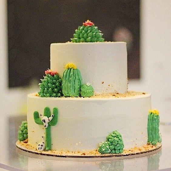 ideias para festa cactos bolo dois andares