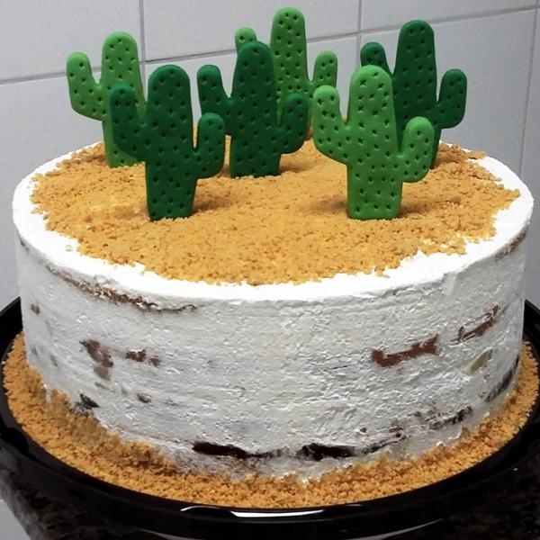 ideias para festa cactos bolo simples