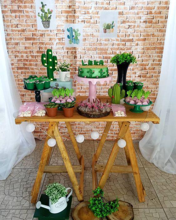 ideias para festa cactos decoracao adulto madeira