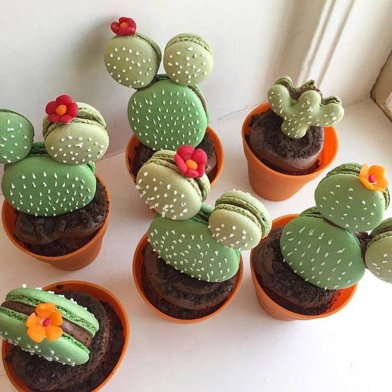 ideias para festa cactos docinhos macarons